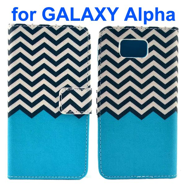 Cross Texture Wallet Style Flip Leather Case for Samsung Galaxy Alpha with Card Slots (Blue Waving Stripes)