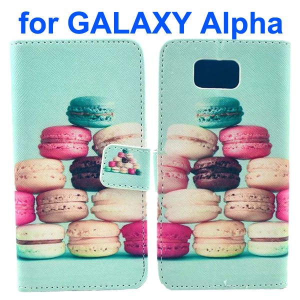 Cross Texture Wallet Style Flip Leather Case for Samsung Galaxy Alpha with Card Slots (Sandwich Biscuit)