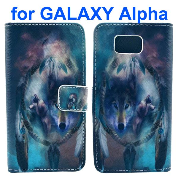 Cross Texture Wallet Style Flip Leather Case for Samsung Galaxy Alpha with Card Slots (Wolves)