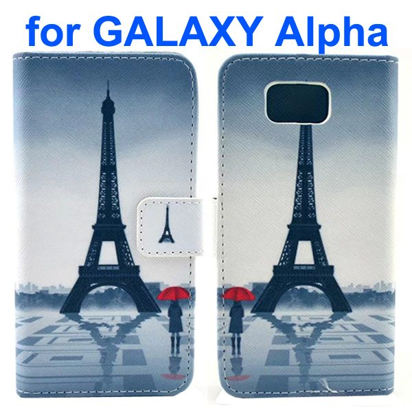 Cross Texture Wallet Style Flip Leather Case for Samsung Galaxy Alpha with Card Slots (Eiffel Tower)