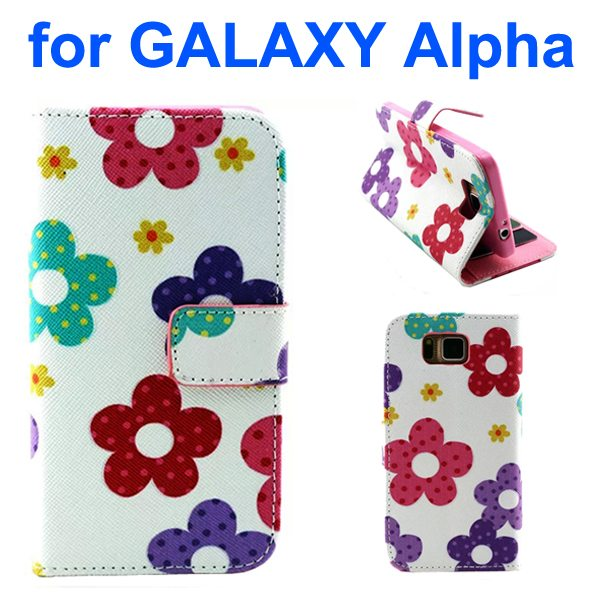 Creative Design Wallet Flip Leather Phone Case for Samsung Galaxy Alpha with Card Slots (Flower Pattern)