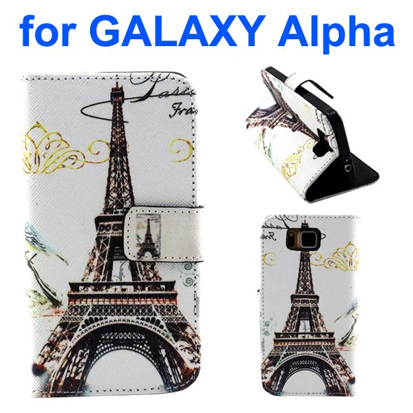 Creative Design Wallet Flip Leather Phone Case for Samsung Galaxy Alpha with Card Slots (Eiffel Tower Pattern)