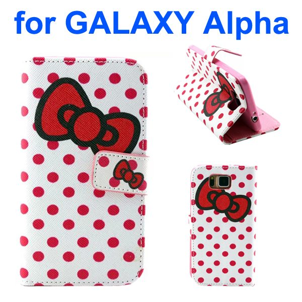 Creative Design Wallet Flip Leather Phone Case for Samsung Galaxy Alpha with Card Slots (Bowknot Pattern)
