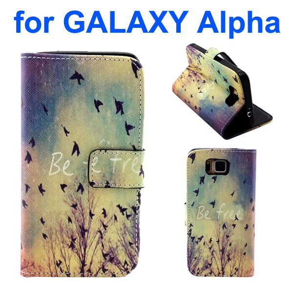 Creative Design Wallet Flip Leather Phone Case for Samsung Galaxy Alpha with Card Slots (Flying Bird Pattern)
