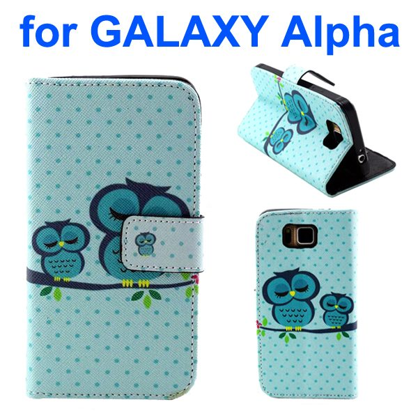 Creative Design Wallet Flip Leather Phone Case for Samsung Galaxy Alpha with Card Slots (Sleeping Owl Pattern)