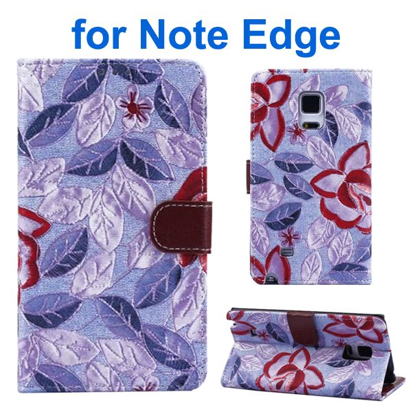 Denim Texture Beautiful Flowers Wallet Flip Leather Case Cover for Samsung Galaxy Note Edge (Purple)
