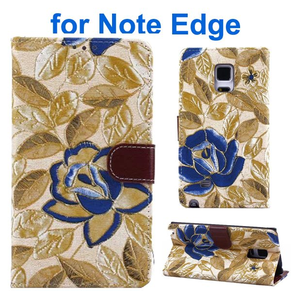 Denim Texture Beautiful Flowers Wallet Flip Leather Case Cover for Samsung Galaxy Note Edge (Yellow)