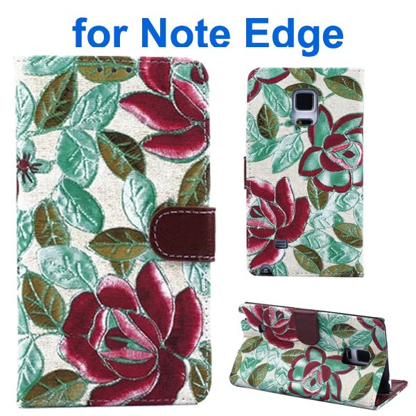 Denim Texture Beautiful Flowers Wallet Flip Leather Case Cover for Samsung Galaxy Note Edge (Green)