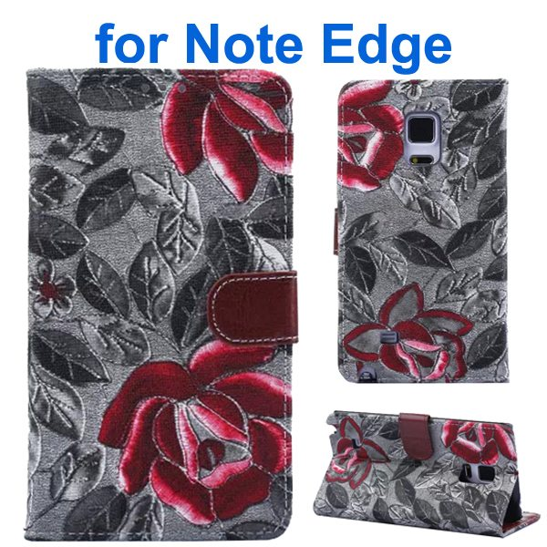 Denim Texture Beautiful Flowers Wallet Flip Leather Case Cover for Samsung Galaxy Note Edge (Black)