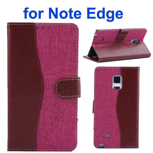 Mix Color Wallet Flip Leather Case Cover for Samsung Galaxy Note Edge (Brown+Rose)