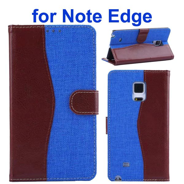 Mix Color Wallet Flip Leather Case Cover for Samsung Galaxy Note Edge (Brown+Blue)