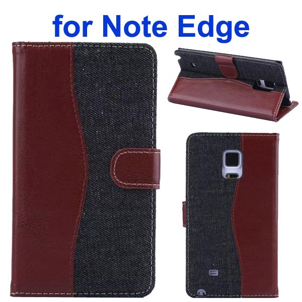Mix Color Wallet Flip Leather Case Cover for Samsung Galaxy Note Edge (Brown+Black)