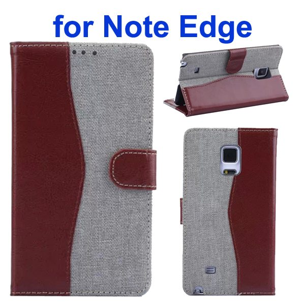 Mix Color Wallet Flip Leather Case Cover for Samsung Galaxy Note Edge (Brown+White)