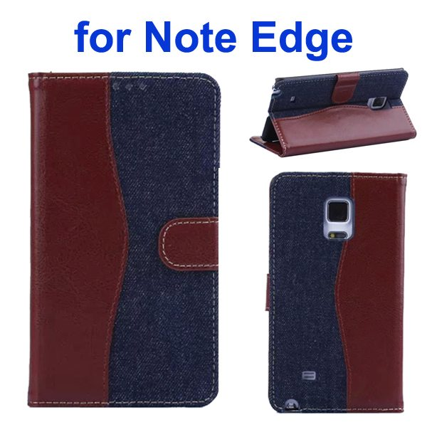 Mix Color Wallet Flip Leather Case Cover for Samsung Galaxy Note Edge (Brown+Dark Blue)