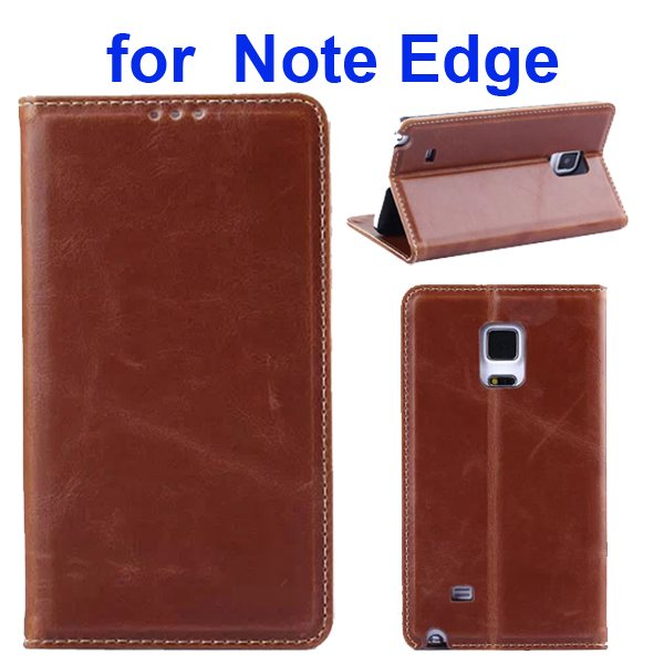 Retro Crazy Horse Texture Flip Genuine Leather Cover for Samsung Galaxy Note Edge (Coffee)