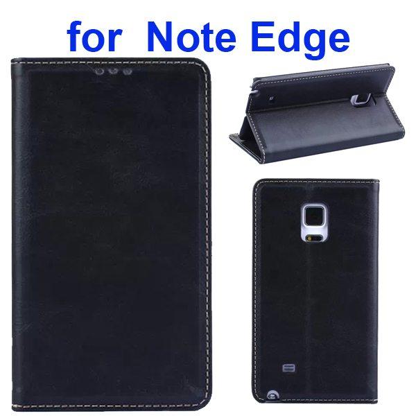 Retro Crazy Horse Texture Flip Genuine Leather Cover for Samsung Galaxy Note Edge (Black)