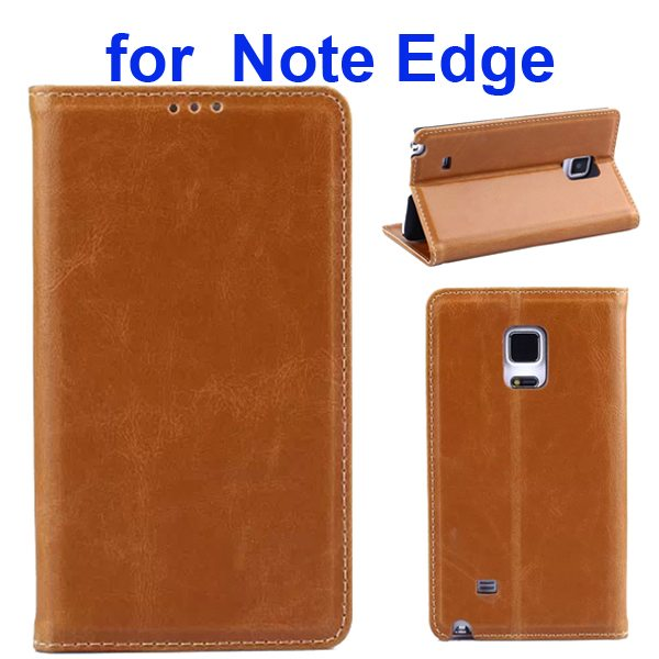 Retro Crazy Horse Texture Flip Genuine Leather Cover for Samsung Galaxy Note Edge (Brown)