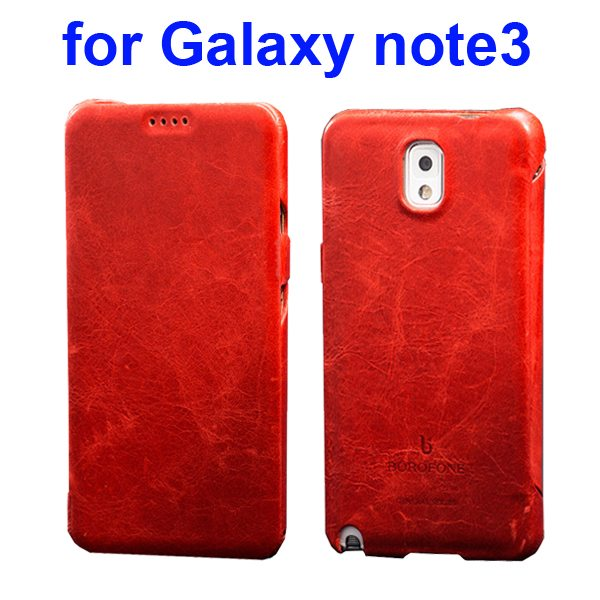 HOCO BOROFONE Series Flip Genuine Cow Leather Case for Samsung Galaxy Note 3 (Red)