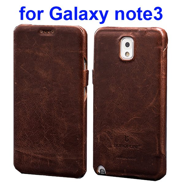 HOCO BOROFONE Series Flip Genuine Cow Leather Case for Samsung Galaxy Note 3 (Brown)