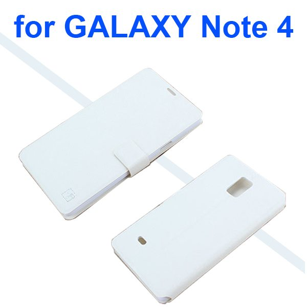 Luxury Flip Stand Wallet Leather Case Cover for Samsung Galaxy Note 4 (White)