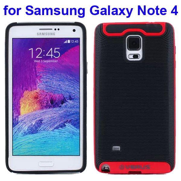 Verus Brand Soft TPU and Hard Protective Hybrid Case for Samsung Galaxy Note 4 (Red)