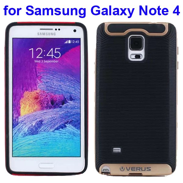Verus Brand Soft TPU and Hard Protective Hybrid Case for Samsung Galaxy Note 4 (Golden)