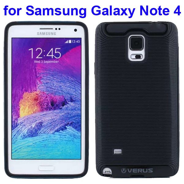 Verus Brand Soft TPU and Hard Protective Hybrid Case for Samsung Galaxy Note 4 (Black)