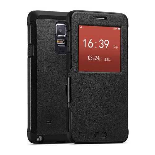 Litchi Texture Flip Case for Samsung Galaxy Note 4/ N910 with Caller ID Display Window (Black)