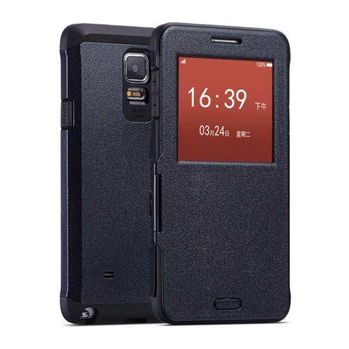 Litchi Texture Flip Case for Samsung Galaxy Note 4/ N910 with Caller ID Display Window (Dark Blue)