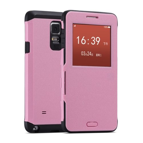 Litchi Texture Flip Case for Samsung Galaxy Note 4/ N910 with Caller ID Display Window (Pink)