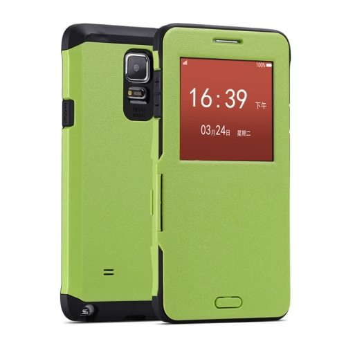 Litchi Texture Flip Case for Samsung Galaxy Note 4/ N910 with Caller ID Display Window (Green)