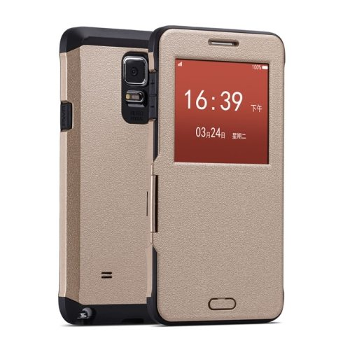 Litchi Texture Flip Case for Samsung Galaxy Note 4/ N910 with Caller ID Display Window (Gold)