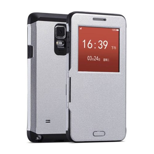Litchi Texture Flip Case for Samsung Galaxy Note 4/ N910 with Caller ID Display Window (Silver)
