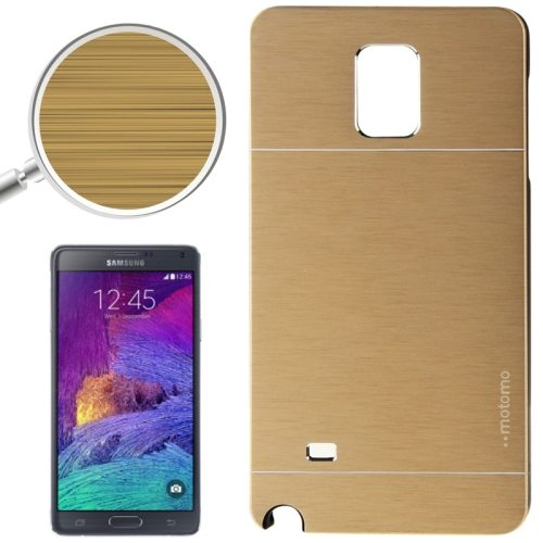 2 in 1 Brushed Texture Metal and PC Hybrid Case for Samsung Galaxy Note 4 (Gold)