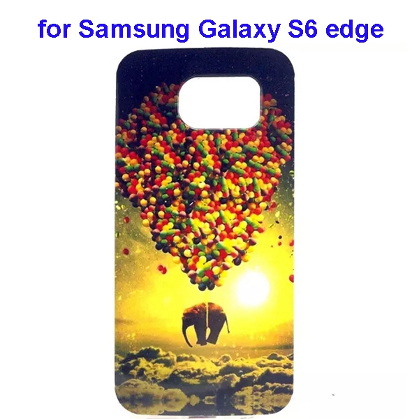 Colorful Pattern TPU Case Cover for Samsung Galaxy S6 edge (Elephant Three Pattern)
