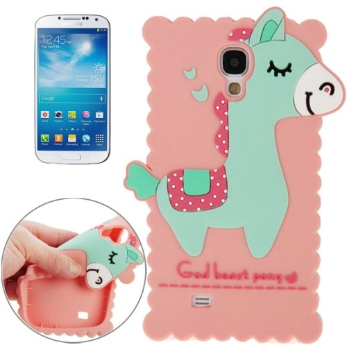 3D God Beast Pony Style Silicone Case for Samsung Galaxy S4/ i9500 (Pink)
