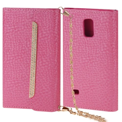 Shoulder Bag Style Diamond-encrusted Leather Case for Samsung Galaxy S5 (Pink)