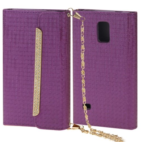 Shoulder Bag Style Diamond-encrusted Leather Case for Samsung Galaxy S5 (Purple)