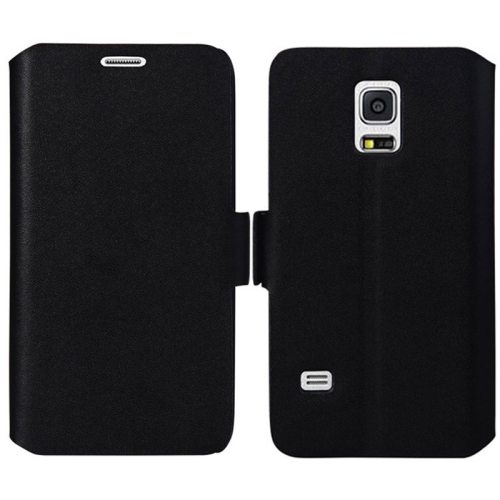 Plain Weave Texture Genuine Leather Case for Samsung Galaxy S5 Mini with Holder (Black)