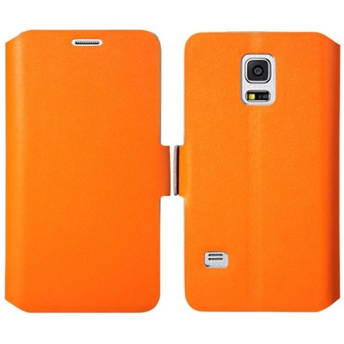 Plain Weave Texture Genuine Leather Case for Samsung Galaxy S5 Mini with Holder (Orange)