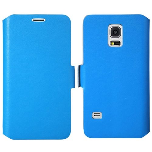 Plain Weave Texture Genuine Leather Case for Samsung Galaxy S5 Mini with Holder (Blue)