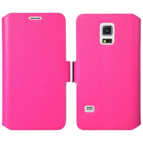 Plain Weave Texture Genuine Leather Case for Samsung Galaxy S5 Mini with Holder (Magenta)