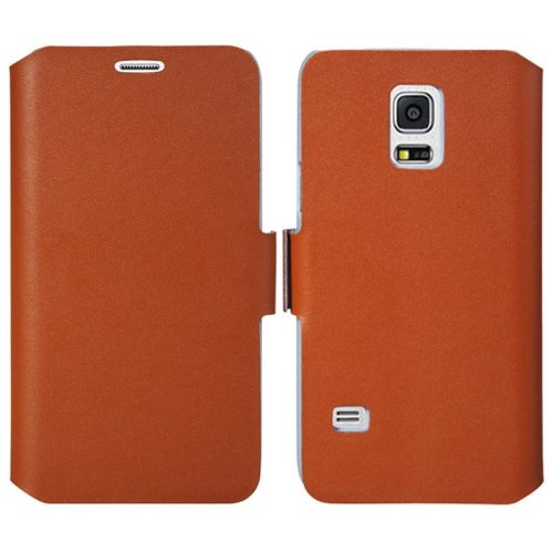 Plain Weave Texture Genuine Leather Case for Samsung Galaxy S5 Mini with Holder (Brown)