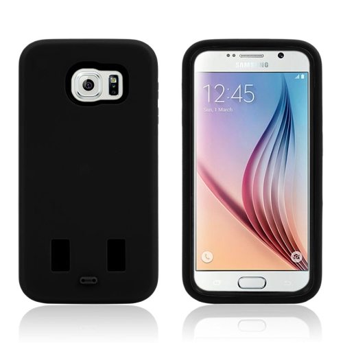 3 in 1 Shockproof Silicone and Hard Hybrid Case for Samsung Galaxy S6 (Black)