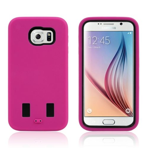 3 in 1 Shockproof Silicone and Hard Hybrid Case for Samsung Galaxy S6 (Magenta)