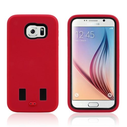 3 in 1 Shockproof Silicone and Hard Hybrid Case for Samsung Galaxy S6 (Red)