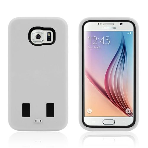 3 in 1 Shockproof Silicone and Hard Hybrid Case for Samsung Galaxy S6 (White)