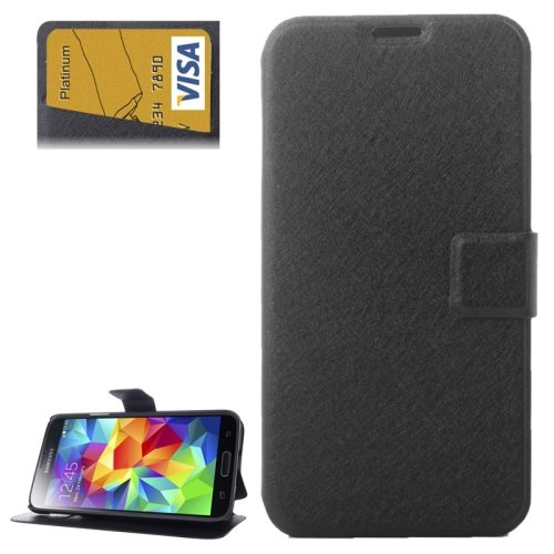 Silk Texture Flip Leather Case for Samsung Galaxy S5 with Card Slot and Holder (Black)