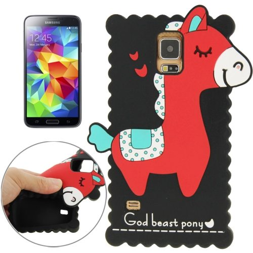 Pretty Pattern 3D God Beast Pony Style Silicone Case for Samsung Galaxy S5 (Black)