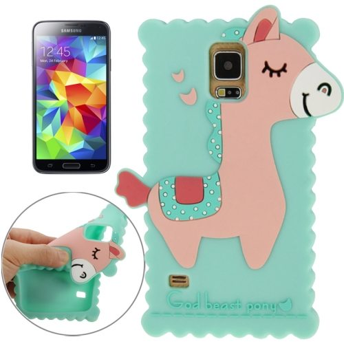 Pretty Pattern 3D God Beast Pony Style Silicone Case for Samsung Galaxy S5 (Green)